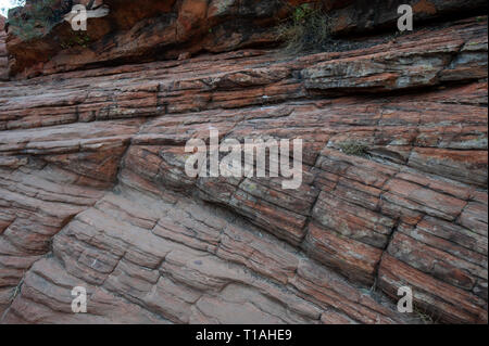 Great example of cross bedding on the Kings Canyon Rim Walk, Northern Territory, Australia - Stock Photo