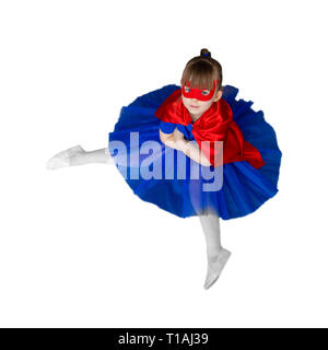 girl super hero with a mask is sitting Isolated on white - Stock Photo