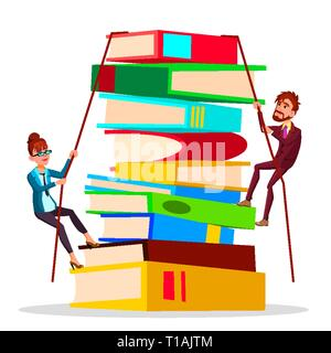 Business Training. Female And Male Business People Climbing Onto Large Stack Of Books Vector Flat Cartoon Illustration - Stock Photo