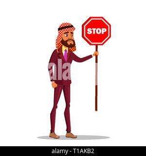 Arab Businessman Standing With Stop Sign Vector Flat Cartoon Illustration - Stock Photo