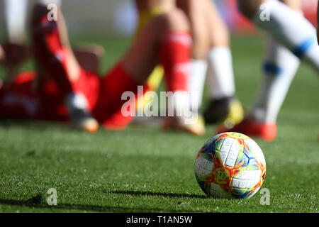 Cardiff, Wales, UK. 24th Mar, 2019. the match ball. UEFA Euro 2020 qualifier match, group E, Wales v Slovakia at the Cardiff city Stadium in Cardiff , South Wales on Sunday 24th March 2019. pic by Andrew Orchard /Andrew Orchard sports photography/Alamy live News EDITORIAL USE ONLY Credit: Andrew Orchard sports photography/Alamy Live News - Stock Photo