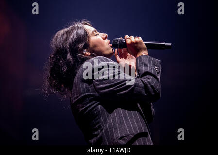 Torino, Italy. 24th Mar, 2019. The Canadian singer Alessia Cara performing live on stage at the Pala Alpitour in Torino, opening for the Shawn Mendes's tour, in a sold out sold out arena. Credit: Alessandro Bosio/Alamy Live News - Stock Photo