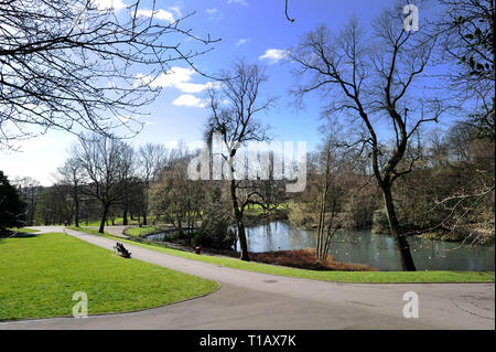 Bolton, Lancashire, UK. 25th March, 2019. Glorious Spring sunshine in Queen's Park, Bolton, Lancashire. A perfect start to the week as blue skies and warm sunshine are expected to continue until the weekend in the North West of England. Perfect weather for relaxing on a bench with a great view of the duck pond. Picture by Credit: Paul Heyes/Alamy Live News - Stock Photo