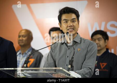 Bangkok, Thailand. 25th Mar, 2019. Future Forward Party secretary-general Piyabutr Saengkanokkul speaks to the media during a press conference the day after the 2019 Thai general election.The Future Forward party are indicating that they are considering the possibility of forming a coalition government with the Pheu Thai party who won the most seats in the election with conditions. Credit: Geovien So/SOPA Images/ZUMA Wire/Alamy Live News - Stock Photo