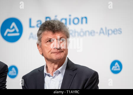Lyon, France. 25th March, 2019. Bernard Thévenet great French cycling champion, winner of the Tour de France in 1975 and 1977 Credit: FRANCK CHAPOLARD/Alamy Live News - Stock Photo