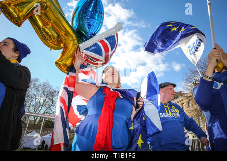 Westminster, London, UK, 25th Mar 2019. Pro- and Anti-Brexit protesters chant and rant at each other outside the Houses of Parliament in Westminster, on another turbulent day of political uncertainty around Brexit. Credit: Imageplotter/Alamy Live News - Stock Photo