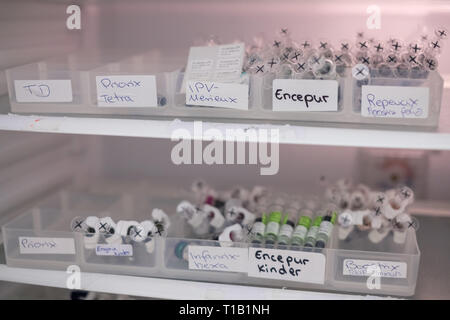 Hannover, Germany. 28th Feb, 2019. Various vaccines, including TD, Priorix Tetra, IPV Merieux, Encepur, Repevax, Priorix, Infanrixhexa, Encepur Children and Boostrix are stored in the refrigerator of a medical practice. Credit: Ole Spata/dpa/Alamy Live News - Stock Photo