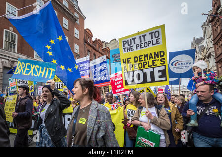 London, UK. 23rd March 2019. Brexit People's Vote March. Tens of thousands of pro-EU supporters attend a mass march to Westminster demanding the public get a final say on any Brexit deal. Credit: Guy Corbishley/Alamy Live News - Stock Photo