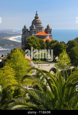 Basilica de Santa Luzia at Monte Santa Luzia near Viana do Castelo, Portugal - Stock Photo