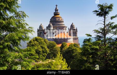 Basilica de Santa Luzia at Monte Santa Luzia near Viana do Castelo, Portugal - Stock Photo