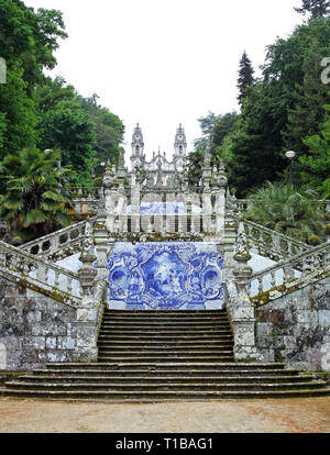 Stairway to the church Santuario Nossa Senhora dos Remedios in Lamego, Portugal - Stock Photo
