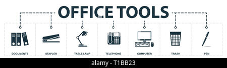 Office Tools set icons collection. Includes simple elements such as Documents, Stapler, Table Lamp, Telephone, Computer, Trash and Pen premium icons. - Stock Photo