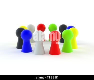 Figures in different colors in circle