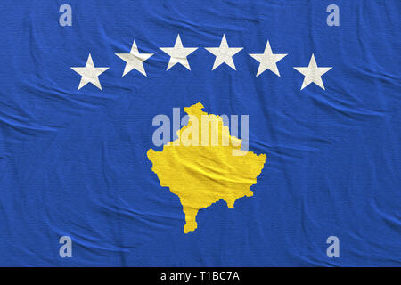 3d rendering of a Republic of Kosovo flag - Stock Photo