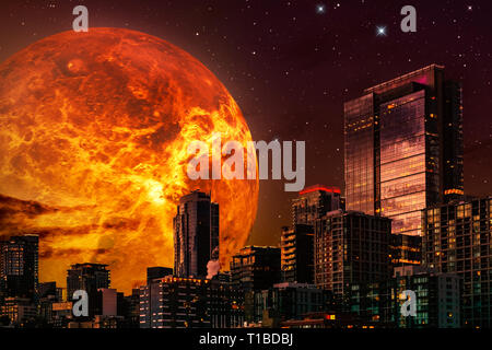 Sci-fi cityscape illustration. Skyline at night with giant planet or sun in the background and a starry sky. Composite illustration with 3d rendering  - Stock Photo