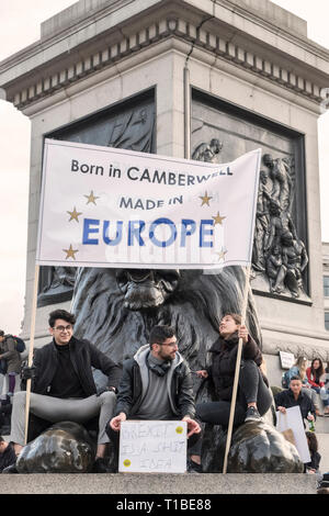 London, UK, 23rd March 2019. A million protestors march against Brexit and in support of a second referendum. Protestors in Trafalgar Square - Stock Photo