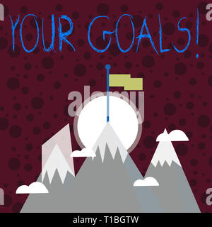 Text sign showing Your Goals. Business photo showcasing something that you hope to achieve or get in near or far future Three High Mountains with Snow - Stock Photo