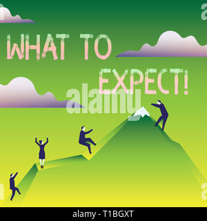 Word writing text What To Expect. Business photo showcasing asking about regard something as likely to happen occur Business People Climbing Color Mou - Stock Photo