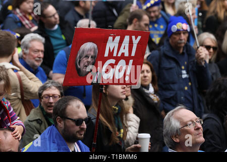Thousands of Anti-Brexit demonstrators march through London protesting for a People's Vote on the outcome of the Brexit referendum, London, England UK - Stock Photo