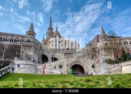 Budapest, Hungary - March 27, 2018: A landscape view of the fisherman's bastion  a popular attraction in Budapest, Hungary. - Stock Photo