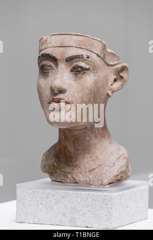 Berlin. Germany. Ancient Egyptian portrait bust of a king. Neues Museum. New Kingdom Period, 18th Dynasty, ca. 1335 BC.  The bust of limestone with re - Stock Photo