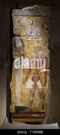 Berlin. Germany. Ancient Egyptian painted fragment of a pillar depicting King Seti I in front of the god Osiris. New Kingdom Period, 19th Dynasty, ca. - Stock Photo
