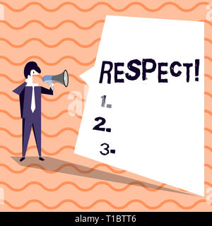 Word writing text Respect. Business photo showcasing Feeling of deep admiration for someone or something Appreciation Businessman Shouting on Megaphon - Stock Photo