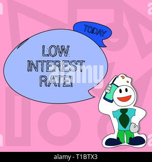 Conceptual hand writing showing Low Interest Rate. Concept meaning Manage money wisely pay lesser rates save higher Man in Necktie Holding Smartphone  - Stock Photo