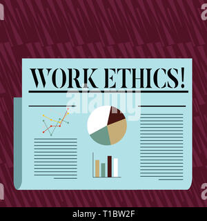 Writing note showing Work Ethics. Business concept for principle that hard work intrinsically virtuous worthy reward Colorful Layout Design Plan of Te - Stock Photo