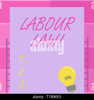 Handwriting text writing Labour Law. Conceptual photo rules relating to rights and responsibilities of workers Incandescent Light Bulb with Filament I - Stock Photo