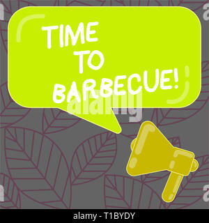 Writing note showing Time To Barbecue. Business concept for Relaxing cooking meat chicken pork on grill Summer activity Megaphone and Rectangular Colo - Stock Photo