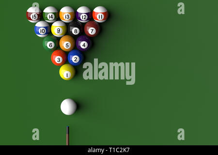 3D rendering of billard balls arranged in a pool table by numeric order - Stock Photo