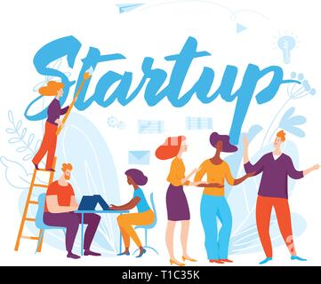 Sturtup concept business illustration with cartoon people - Stock Photo