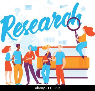 Vector concept research business illustration with cartoon thinking people.  - Stock Photo