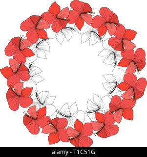 Vector Hibiscus floral tropical flowers. Engraved ink art on white background. Frame border ornament square. - Stock Photo