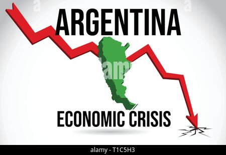 Argentina Map Financial Crisis Economic Collapse Market Crash Global Meltdown Vector Illustration. - Stock Photo