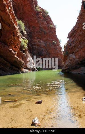 Emerald green waters of Simpsons Gap, Northern Territory, Australia - Stock Photo