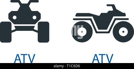 All-terrain vehicle Quad bike atv icon isolated front view off-road motorcycles set vector sign symbol - Stock Photo