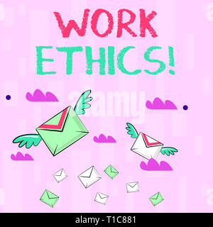 Writing note showing Work Ethics. Business concept for principle that hard work intrinsically virtuous worthy reward Colorful Airmail Letter Envelopes - Stock Photo