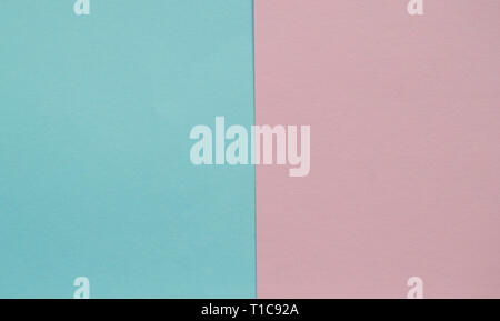 Blue and pink pastel color paper geometric flat lay two backgrounds side by side. - Stock Photo