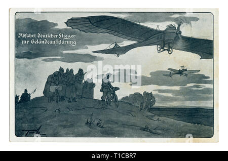 German historical postcard: The German aviators received orders for reconnaissance of the area. Airplanes fly in different directions, world war one - Stock Photo