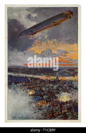 German historical postcard: Huge German Zeppelin over the Belgian city of Antwerp. The bombing of the city at night, Flanders, world war one 1914-1918 - Stock Photo