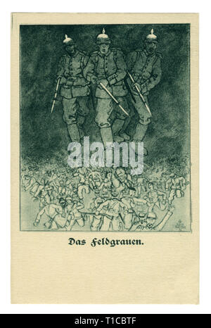 German historical postcard: Field gray color of the military uniform. Infantry soldiers with rifles and bayonets at the ready chase the allied forces - Stock Photo