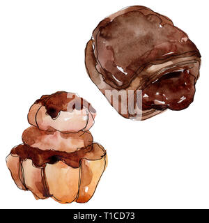 Tasty cake and bun in a watercolor style. Background illustration set. Watercolour drawing fashion aquarelle isolated. - Stock Photo