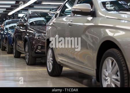 Russia, Izhevsk - December 15, 2018: LADA Automobile Plant Izhevsk, part of the AVTOVAZ Group. New modern cars Lada ready for sale. - Stock Photo
