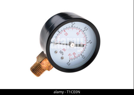 radial pressure gauge isolated on white background - Stock Photo