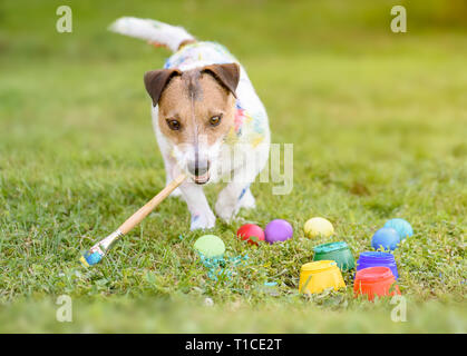 Funny dog with paintbrush making DIY Easter eggs on grass - Stock Photo