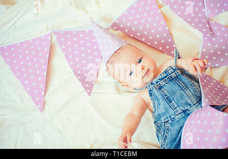 My best little friend. Sweet little baby. New life and birth. Childhood happiness. Portrait of happy little child. Small girl. Happy birthday. Family - Stock Photo