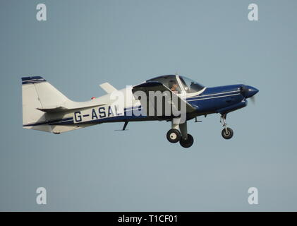 G-ASAL, the only Model 124 Scottish Aviation Bulldog, and former company demonstrator, at its home base at Prestwick Airport in Ayrshire. - Stock Photo
