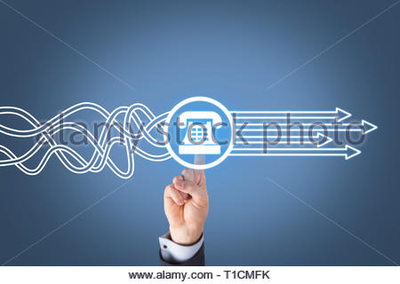 Contact Us Solution Concepts on Visual Screen - Stock Photo